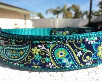 "Dog Collar, 3/4"" or 1"" ,Quick Release buckle, adjustable collar Teal Paisley - S - XL - upgrade to Martingale - see info  within"