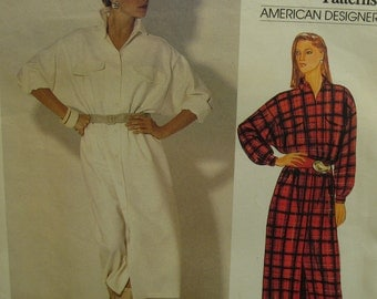 80s Bill Blass Shirt Dress Pattern, Straight, Collar and Band, Patch Pockets, Long Sleeves, Cuffs, Vogue 1067 Size 8 10