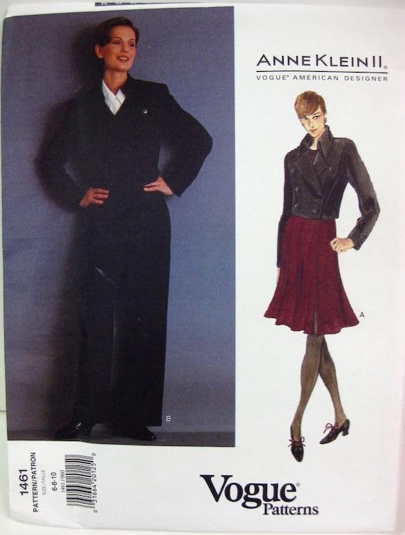 Anne Klein Military Jacket Pattern, Gored Flared Skirt, Raised Waist Pants,Vogue American Designer No. 1461 Size 6, 8, 10