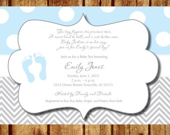 Blue Footprints Baby Shower Invitation