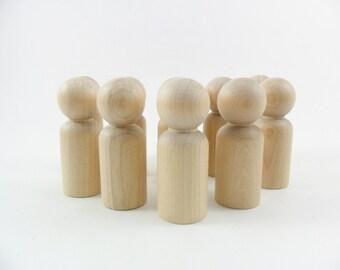 """12 Peg Doll 2 3/8"""" Dad Man Boy Unfinished Wood Peg Doll"""