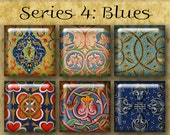 BLUE ILLUMINATIONS 1 inch Squares - Series No. 4 Digital Printables from Old Manuscripts for Jewelry Magnets Crafts
