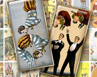 VINTAGE CIRCUS POSTERS (Acrobats) 1x2 inch Domino Art - Digital Printables for Pendants Magnets Crafts...Trapeze Artists Cyclists Tumblers