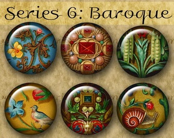 1 inch BAROQUE ILLUMINATIONS Series No. 6 Digital Printable Circles collage sheet for Jewelry Magnets Crafts