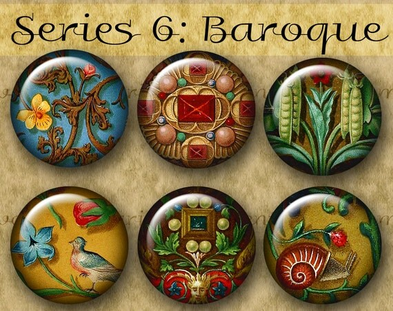 BAROQUE ILLUMINATIONS 1 inch Circles - Series No. 6 Digital Printables from Old Manuscripts for Jewelry Magnets Crafts