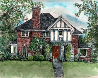 Custom House Portraits in Pen and Ink and Watercolor