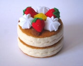 Felt food Pancake set (strawberry) eco friendly children's felt play food for kids toy kitchen