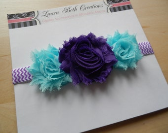Shabby Chic Triple Rose Chevron Headband - Grape & Aqua - Baby Headband - Newborn Headband - Childrens Headband - Flower Headband