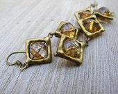 Long Stacked Diamonds Dangle Earrings, Golden Czech Glass, Antiqued Brass