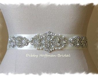 Pearl Crystal Bridal Sash, Crystal Rhinestone Wedding Dress Belt, Pearl Jeweled Wedding Sash, Wedding Belts & Sashes Pearl, No. 4065S4066