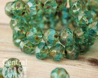 Deep Waters - Aqua Blue Czech Glass Picasso Center Cut Baroque Beads - 9mm - 15 beads - Central Coast Charms