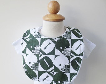 SALE Terrycloth Baby Bib - Green and White Football