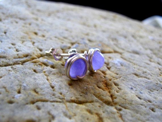 Lilac Lavender Jade and Silver Wire Wrapped Post Earrings, Everyday Gemstone Stud Earrings, Sterling Silver Purple Violet Gem Post Earrings