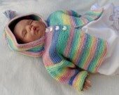 Hooded baby sweater, handknit coat, buttoned. baby girl, multi color, handknit. Baby shower