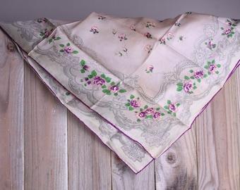 50s Silk Scarf - Vintage Purple Rose Scarf - Paisley Print Scarf