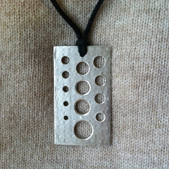 Not Quite Perfect **Some Scratches**  Knitting Needle Gauge Sterling Silver Necklace on Cotton Cord by Knitpurletc