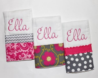 3 Personalized Burp Cloth Set in Pink and Gray - Damask, Polka Dots, Flowers