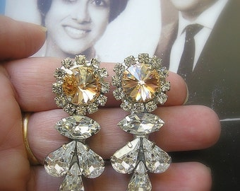 Crystal Champagne Earrings, wedding Gatsby Earrings , Bridal Champagne Rhinestone Earrings, Clip On Earrings