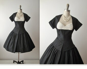 50's Taffeta Dress // Vintage 1950's Black Taffeta Tulle Cocktail Party Evening Dress S