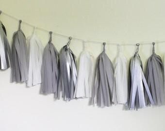 DIY Tassel Garland Kit - Metallic Silver, White, Gray : Sterling