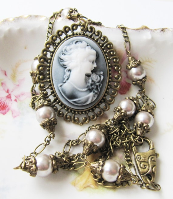 Cameo pearl necklace-grey necklace-gift for her-women-large pendant-long necklace-victorian-romantic jewelry