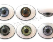 24mm Glass Oval Paperweight Doll Eyes with a Human Iris- One Pair