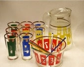 ON SALE RARE Drink by the Numbers 1950s 1960s Colorful midCentury Drink Set with Pitcher Tumblers Ice Bucket and Stir Sticks Bold Primary C