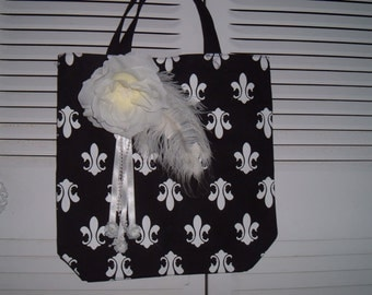 Ladies tote bag with french  fleur de lis, roses, feathers, and  beads