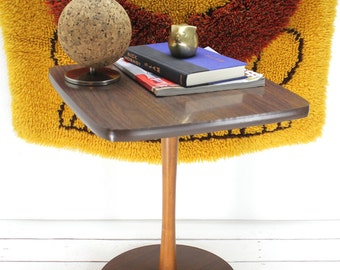 Mid Century Modern Pedestal Wood Table- Nightstand