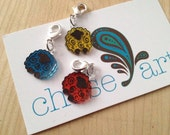 Removable/Crochet Sheep Stitch Markers, Set of Three (3), Teal, Yellow, Orange