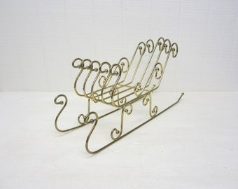 Vintage Brass Sleigh Christmas Decoration Gold Color Metal Large Holiday Decor