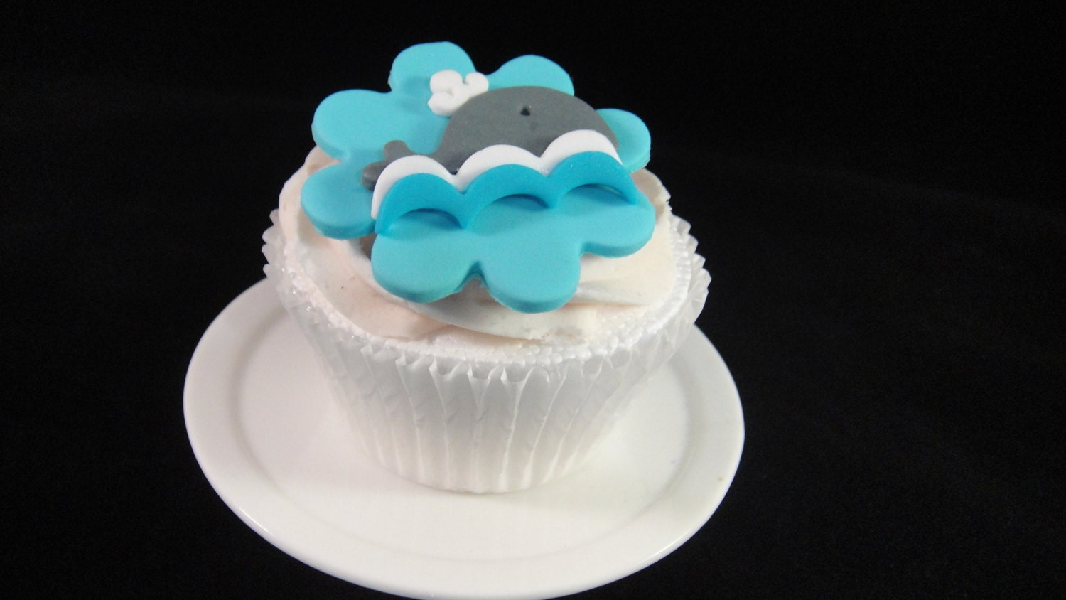 Cute Little Whales Fondant Cupcake Toppers