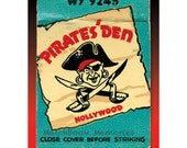 Pirate with Swords Matchbook Cover Print for Wall Decor - Pirates' Den Hollywood Nightclub 1940s -11x14 inch mat
