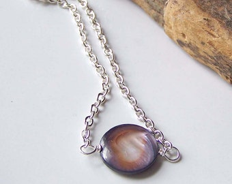Purple Mother of Pearl Necklace, MOP Necklace, Simple Necklace, Beaded Necklace, Purple and Silver Necklace, Etsy Jewelry