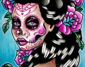 RESERVED for Kimberly Ross - Sugar Skull Girl Signed Limited Edition Art Print Vanessa Day of the Dead Tattoo Flash - 5 of 25 - apprx 11x14