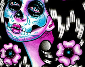10 PERCENT OFF Sugar Skull Girl Signed Limited Edition Art Print - Penelope - Day of the Dead Tattoo Illustration Flash - 2 of 25 - 5x7 in
