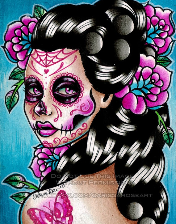 10 PERCENT OFF Sugar Skull Girl Signed Limited Edition Art Print Vanessa Day of the Dead Tattoo Flash - 7 of 25 - apprx 11x14
