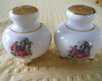 White China and Gold Salt and Pepper Shakers - Vintage, Collectible