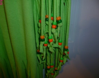 Fringed T-Shirt Size 2X Green Pink Orange Neon Beads NWT Hand Beaded