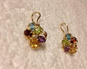 14K Gold Earrings Large Vintage Lever Back Omega Pierced Multi Gemstones Amethyst Purple Peridot Green Garnet Red Citrine Yellow Blue Topaz