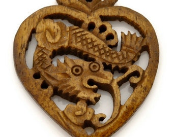 Carved-34x40mm Pendant-Heart With Dragon-No 1-Brown-Quantity 1