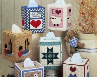 Country Tissue Boxes in Plastic Canvas - A Leisure Arts OPP Leaflet 411