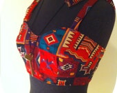 Womens crop top aztec pattern upcycled