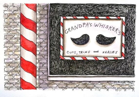 "Pen and Ink barber shop window drawing  6"" x 4"" original watercolor illustration art mustache red black sfa"