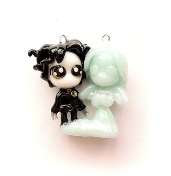 SALE - Edward and Ice Angel - Miniature Sculpture - Charm Pendant