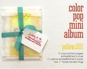 Yellow Color Pop Mini Album Book Notebook Daybook Kit . Mixed Media Paper Kit Smash Art List Journal Travel Trip Baby Brag Scrapbook Album