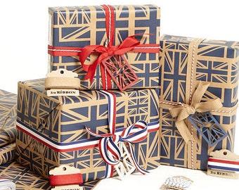Union Jack Navy Gift Wrap Set