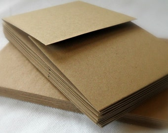 Upcycled Notecards, Small Tri-fold, Kraft, Set of 10 with matching envelopes