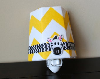 NEW!! Zebra with Yellow Chevron - Children's Night Light