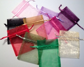 50 Assorted Drawstring Organza Bags 3 x 4 inch - Wedding Favors - Gift Bags